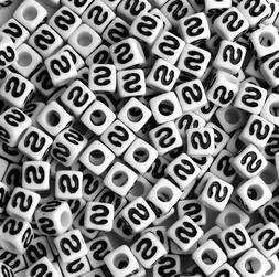 letter s 100pc 7mm alphabet beads white