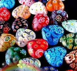 100Pcs Bulk Colorized Glass Flower Millefiori Heart Beads Je