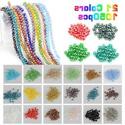 Lot 1050Pcs Crystal Glass Bicone Loose Spacer Beads Jewelry