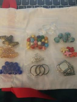 Lot Of 10 Bags Of Beads and metal Jewelry Supplies gemstones