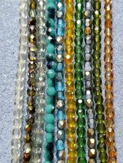 Lot of 10 strands of 3mm. Czech fire polish beads.