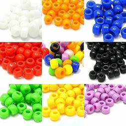 Lot of 100 Plastic Acrylic 9mm x 6mm Opaque Pony Crow Beads