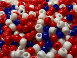 LOT OF 200~RED~WHITE~BLUE PONY BEADS~KIDS CRAFTS~DIY JEWELRY