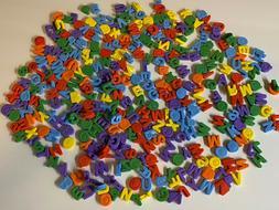 LOT OF 350~ABC~KIDS CRAFT BEADS JEWELRY MAKING~SCRABOOKING~C