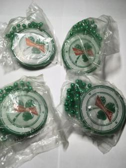 Lot Of 4 Budweiser St Patricks Day Green Beads Necklaces