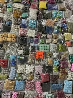 Lot Of BEADS 15 Bags Jewelry Making Supplies Loose Mixed Gla