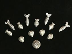 Lot: Hill Tribes Sterling Silver: 13 Beads, 4 shapes Hand St