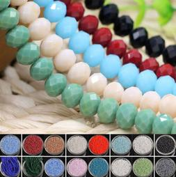 Lots Wholesale Rondelle Faceted Crystal Glass Loose Spacer B