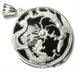 Lucky Natural Agate /Jade Dragon Phoenix Pendant Necklace Wo