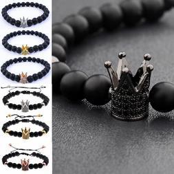 Luxury Zircon Crown Charm Bracelets 8mm Natural Stone Beads