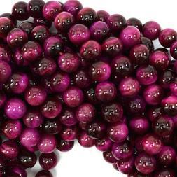"Magenta Tiger Eye Round Beads Gemstone 15.5"" Strand 4mm 6mm"