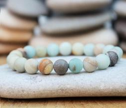 Matte Amazonite Beaded Bracelets Men Women Yoga Mala Beads M