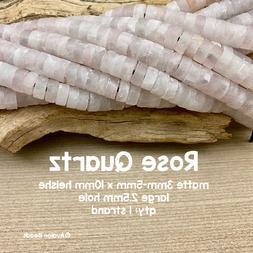 Matte Rose Quartz - LARGE HOLE Beads - 3-5mm x 10mm - Heishi