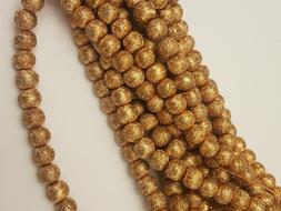 Matte Style Glass Pearl Beads, Gold Round, Spray Painted Sty