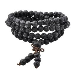 Men Fashion Black Lava Buddhist Prayer Beads Mala Multi-laye