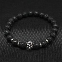 Men Fashion Black Lava Stone Gold&Silver Lion Beaded Cuff Ch