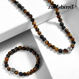 Men Natural Yellow Tiger's Eye Beads Choker Necklace Bracele