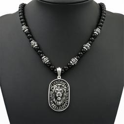 Men's 8mm Black Onyx Beads Silver LION Tag Stainless Steel P