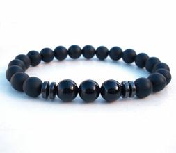 Men's Black Tourmaline Matte Agate Stone Fashion Yoga Beaded