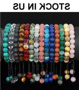 Men Women 8mm Natural Gemstones Braided Macrame Beads Bracel