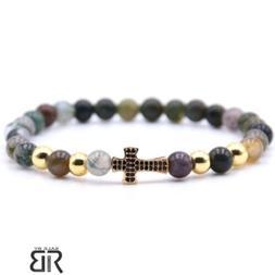Mens Womens Bracelets Cross  Fancy Glass Beads Gold Tone Cro