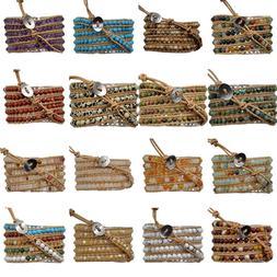 Mens Women's Natural Gemstone Wrap Genuine Leather Bangle