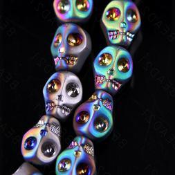 Metallic Crystal Skull Beads Blue Silver Rainbow Charm 10mm