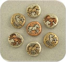 Mini Horse Circle Beads Mustang Pony 3Tone Metal 2 Hole Slid