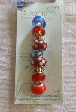 DARICE MIX & MINGLE LARGE HOLE GLASS METAL LINED BEADS  RED/