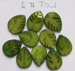 Moss Green MOP Mother-of-Pearl Carved Leaf Beads - 20x15 mm