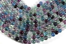 "Multi-Color Rainbow Fluorite 9mm Round Beads 16"" Green Purpl"