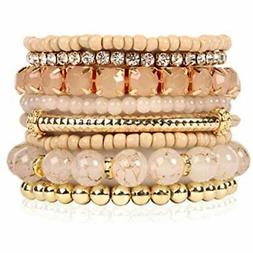 Multi Color Stretch Beaded Stackable Bracelets - Layering St