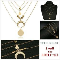 Multi layer Fashion Women Moon Beads Choker Necklace Charm C