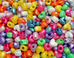 Multi Pearl Colors Heart Pony Beads 100pc made in USA kids V