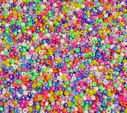 Multi Pearl Mini Barrel Pony Beads made in USA 1,000pc kids