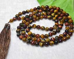 Multicolor Tiger's Eye Tibet Buddhist 108 Prayer Beads Mal