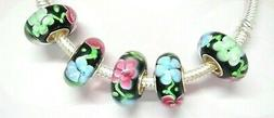 MURANO GLASS MULTI COLOR FLOWER BEADS ADD TO EUROPEAN STYLE