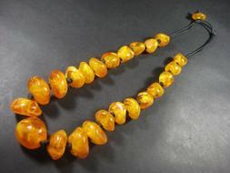 N5643 TIBETAN Bold FASHION Amber Color Resin Bead Tribal Nec