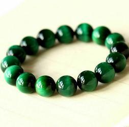 Natural 10/12/14mm AAA+ Gemstone Green Tigers Eye Stone Bead