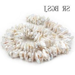 Natural 10x15mm Biwa Keshi White Freshwater Pearl Jewelry DI