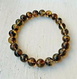 Natural Baltic Amber Bracelet 6,8gr 8,1mm Round Beads Transl