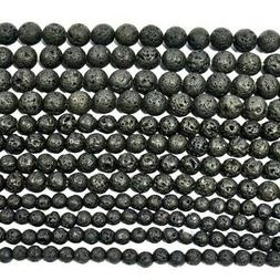 Natural Black Lava Beads Round Volcanic Rock Gemstone 15""