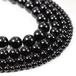 "Natural Black Onyx Beads Round Smooth 15"" Strand Loose 4mm"