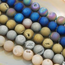Natural Druzy Quartz Agate Round Beads 6mm 8mm 10mm 12mm 14m