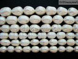 Natural Freshwater White Pearl Oval Rice Beads 15'' 6mm 7mm