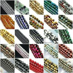 Natural Gemstone Round Loose Bead 4mm 6mm 8mm 10mm 12mm 15""
