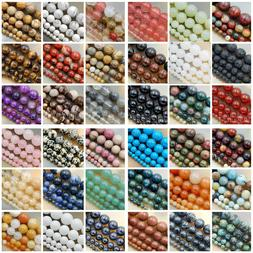 "Natural Gemstone Smooth Round Loose Beads 15""  4mm 6mm 8mm 1"