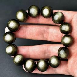 Natural Gold Obsidian Flash Gemstone Round Beads Women Men B