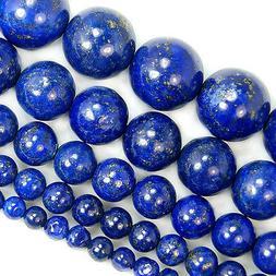 """Natural Lapis Lazuli Gemstone Beads 15"""" 4 6 8 10 12 14mm Pic"""