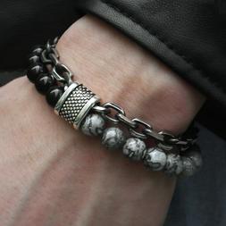 Natural Map Stone Men's Women Beaded Stainless Steel Bracele